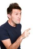 Man indicate something. A young man indicate something Royalty Free Stock Image