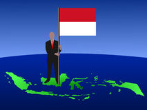 Man with Indonesian flag Royalty Free Stock Photo