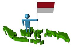 Man with Indonesian flag on map Stock Photo