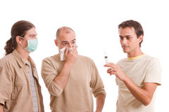 Man infected with h1n1 Royalty Free Stock Photography