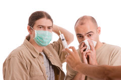 Man infected with h1n1. Virus terrorizing his friends Stock Image