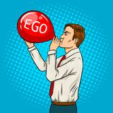 Man inflate ego balloon pop art vector Royalty Free Stock Photography
