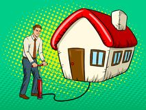 Man inflate house pop art vector illustration Stock Image