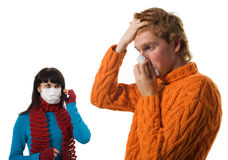 Man influenza patients, a woman Stock Photo