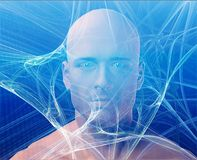 Man and information. A man's face, surrounding by information Blue background