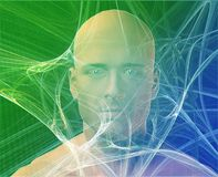 Man and information. A man's face, surrounding by information Green background