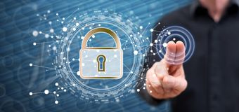 Man touching a digital security concept royalty free stock photography