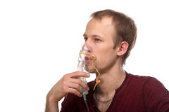 Man with inhaler Stock Photography