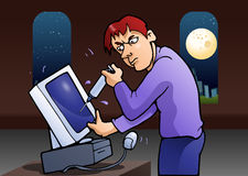 Man inject computer. Illustration of a man inject computer on night background Stock Photos