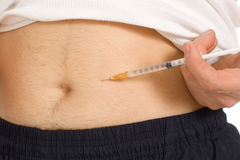 Man inject in the stomach Royalty Free Stock Photo