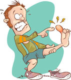 Man injured foot. A vector image illustration (Man injured foot Stock Photos