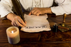 Man inscribed parchment Royalty Free Stock Images