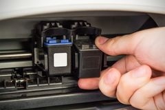 Man insert printer cartridges Stock Photography