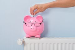 Man inserting coin in piggy bank Royalty Free Stock Photo