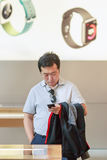 Man inside Apple outlet, Beijing, China Royalty Free Stock Photo