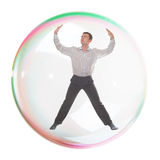 Man inside a  bubble Stock Photos
