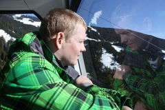 Man inside the cabin. Cable car in Zell am See, skiing resort in North Tirol, Austria. Stock Image