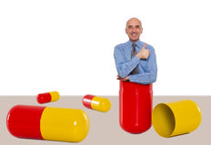 Man inside a capsule feeling great Stock Photography