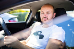 Man inside the car Royalty Free Stock Photos