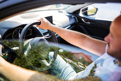 Man inside the car Royalty Free Stock Photography