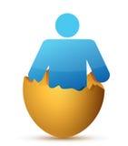 Man inside cracked eggshell Stock Images