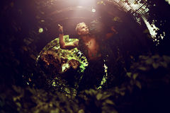Man Inside Leafy Round Tunnel Stock Photos