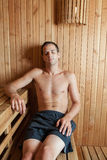 Man inside sauna Royalty Free Stock Images