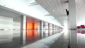 Man inside waiting space in new terminal D in international airport Borispol stock video