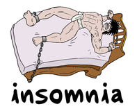 Man with insomnia. Creative design of man with insomnia Stock Image