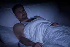 Man with insomnia Royalty Free Stock Image