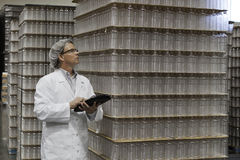 Man inspecting bottled water in distribution warehouse Royalty Free Stock Images