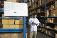 Man Inspecting Boxes In Warehouse Stock Images