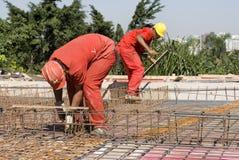 Man Installing Rebar - Horizontal Stock Image