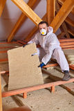 Man installing thermal isnulation with mineral whool panels Royalty Free Stock Image
