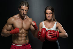 Man Instructor And Woman Training Mixed Martial Art royalty free stock image