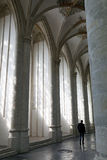 Man in interior of breda cathedral in holland Royalty Free Stock Image