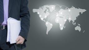 Man and international map stock photos