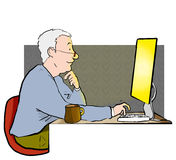 Man on internet. Middle aged man on the computer or internet Stock Images