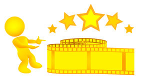 Man Introduces Gold Yellow Film Strip Illustration Stock Photos