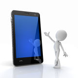 Man introducing cell phone. With touchscreen
