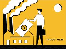Man Investing in a Factory stock illustration