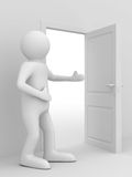 Man invites to pass open door Royalty Free Stock Images