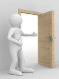 Man invites to pass open door Royalty Free Stock Photos