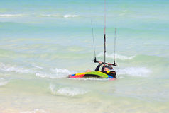 Man involved in kiteboarding. On the coast of Cuba Royalty Free Stock Photography