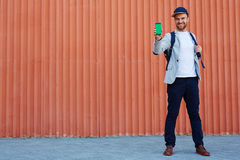 Man with iphone Royalty Free Stock Photos