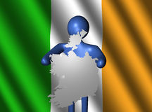 Man with Ireland map on flag Stock Image