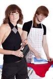 Man ironing Stock Photos