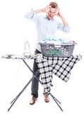 Man with ironing board Royalty Free Stock Photos