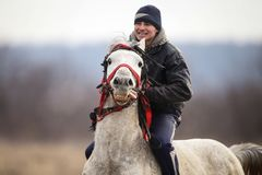 Free Man Is Bareback Riding An Adorned Horse Before An Epiphany Celebration Horse Race Royalty Free Stock Photography - 151099277