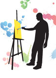 Man Is Painting Silhouette Vector Stock Images
